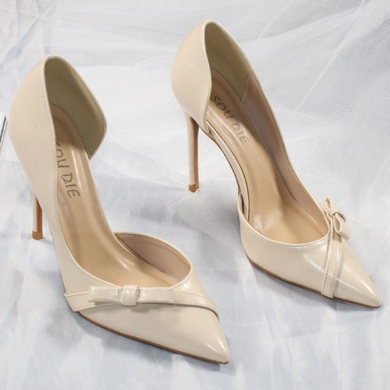 Sexy Nude Cocktail Party Womens Shoes 2020 Bow 10 cm Stiletto Heels Pointed Toe Heels