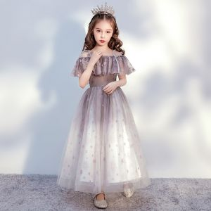 Chic / Beautiful Brown Birthday Flower Girl Dresses 2020 Ball Gown Off-The-Shoulder Short Sleeve Backless Glitter Tulle Ankle Length Ruffle