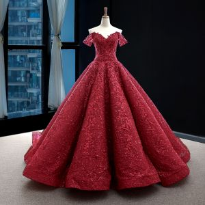 Best Red Wedding Dresses 2020 A-Line / Princess Off-The-Shoulder Short Sleeve Backless Glitter Appliques Lace Sweep Train Ruffle