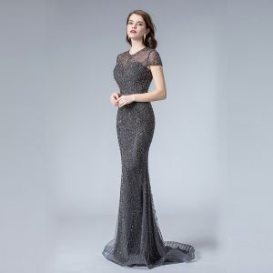 High-end Navy Blue See-through Evening Dresses  2019 Trumpet / Mermaid Scoop Neck Cap Sleeves Handmade  Beading Sweep Train Formal Dresses