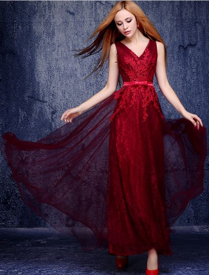 A-line V-neck Appliques Lace Burgundy Tulle Evening Dress
