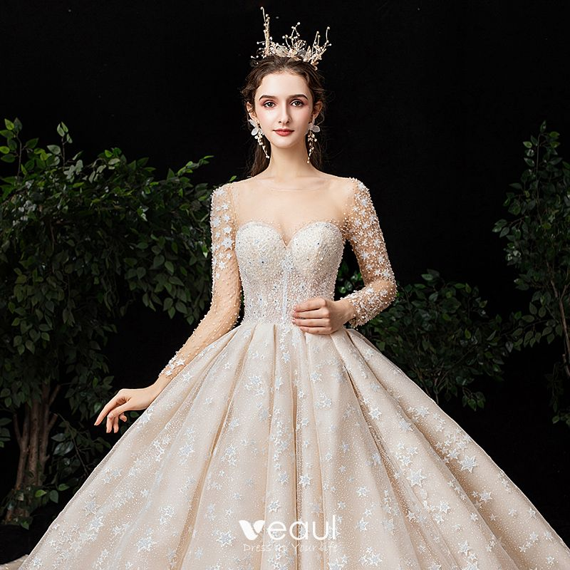 See Through Wedding Gown: Fabulous Champagne See-through Star Wedding Dresses 2020