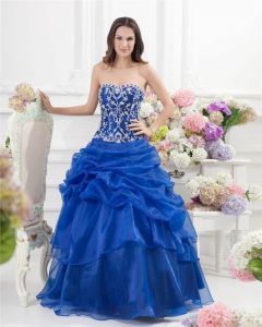 Ball Gown Sweetheart Ruffle Beading Floor Length Satin Organza Quinceanera Prom Dress
