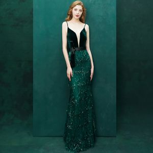 Sexy Dark Green Evening Dresses  2019 Trumpet / Mermaid Suede Beading Tassel Bow Spaghetti Straps Sleeveless Backless Floor-Length / Long Formal Dresses