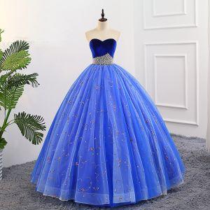 Elegante Koninklijk Blauw Quinceañera Galajurken 2018 Baljurk Geborduurde Parel Suede Geliefde Ruglooze Mouwloos Lange Gelegenheid Jurken