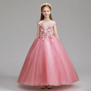 Flower Fairy Candy Pink Flower Girl Dresses 2019 A-Line / Princess Scoop Neck Cap Sleeves Appliques Lace Flower Pearl Floor-Length / Long Ruffle Wedding Party Dresses