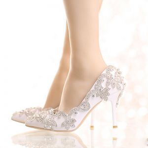 Chic / Beautiful 2017 9 cm White Casual Church PU Crystal Rhinestone High Heels Stiletto Heels Pumps Wedding Shoes