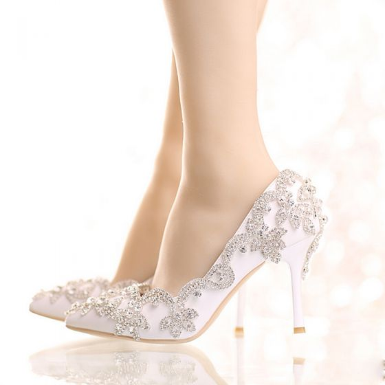Chic / Beautiful 2017 9 cm White Casual Church PU Crystal Rhinestone High Heels Stiletto Heels Pumps Wedding Shoes
