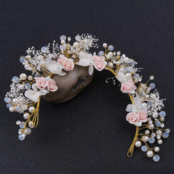 Blumenfee Gold Kopfschmuck Hochzeit Brautaccessoires 2020 Legierung Blumen Perlenstickerei Perle Haarschmuck Braut