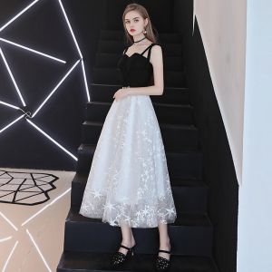 Elegant Black Prom Dresses 2018 A-Line / Princess Rhinestone Star Spaghetti Straps Sleeveless Backless Tea-length Formal Dresses