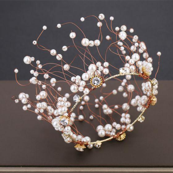 Charming Gold Bridal Hair Accessories 2019 Metal Pearl Rhinestone Wedding Headpieces Accessories