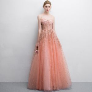 Chic / Beautiful Orange Prom Dresses 2018 A-Line / Princess Sequins Spaghetti Straps Backless Sleeveless Floor-Length / Long Formal Dresses