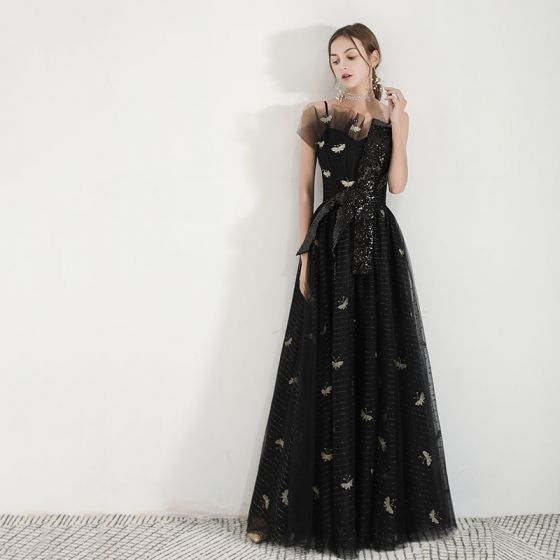 Modern / Fashion Black Evening Dresses  2019 A-Line / Princess Spaghetti Straps Sleeveless Puffy Embroidered Sequins Floor-Length / Long Ruffle Backless Formal Dresses