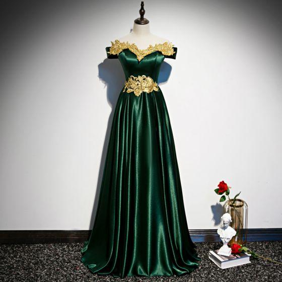 Chic / Belle Vert Foncé Satin Robe De Soirée 2020 Princesse De l'épaule Manches Courtes Doré Appliques En Dentelle Perlage Longue Volants Dos Nu Robe De Ceremonie