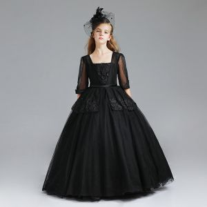 Chic / Beautiful Black Flower Girl Dresses 2017 Ball Gown Square Neckline 3/4 Sleeve Appliques Lace Sash Floor-Length / Long Wedding Party Dresses
