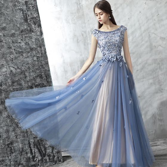 Chic / Beautiful Evening Dresses  2017 Ink Blue A-Line / Princess Floor-Length / Long Cascading Ruffles Scoop Neck Sleeveless Backless Pearl Appliques Flower Formal Dresses