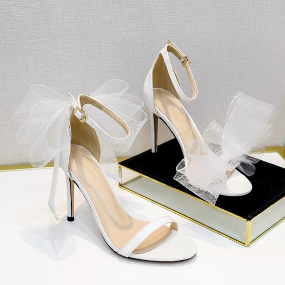 Mooie / Prachtige Witte Gala Strik Sandalen Dames 2020 Enkelband 10 cm Naaldhakken / Stiletto Peep Toe Sandalen
