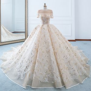 Luxury / Gorgeous Champagne Wedding Dresses 2018 Ball Gown See-through Scoop Neck Short Sleeve Gold Beading Sequins Appliques Lace Ruffle Cathedral Train