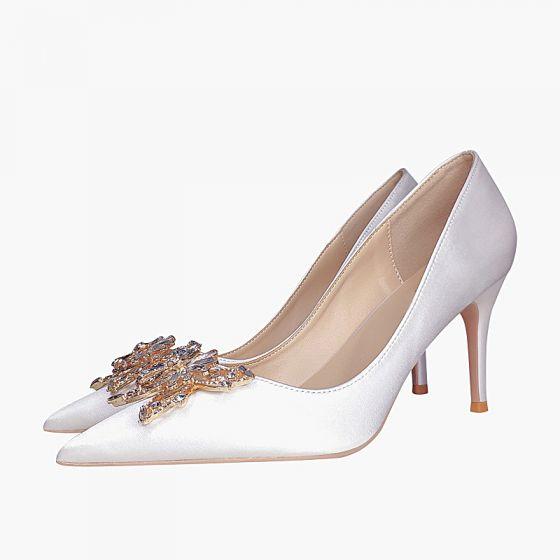 Chic / Belle Ivoire Soirée Faux Diamant Papillon Escarpins 2021 Cuir 8 cm Talons Aiguilles À Bout Pointu Escarpins Talons Hauts