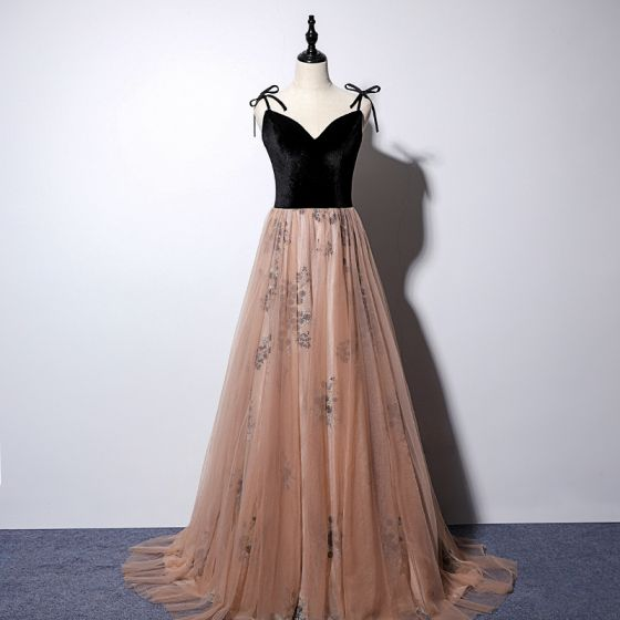 Chic / Beautiful Champagne Gold Evening Dresses  2019 A-Line / Princess Spaghetti Straps Sleeveless Appliques Lace Sweep Train Ruffle Backless Formal Dresses