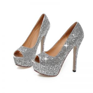 Sparkly Prom Pumps 2017 PU Glitter Platform Open / Peep Toe High Heel Pumps