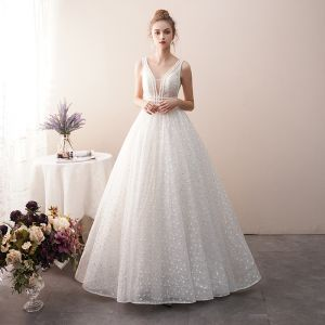 Best Ivory See-through Lace Wedding Dresses 2019 A-Line / Princess V-Neck Sleeveless Backless Beading Floor-Length / Long Ruffle