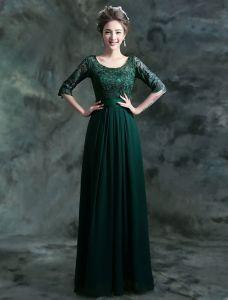 Modest Lange Blonde Aftenkjole Mørkegrøn Selskabskjole Med Ærmer