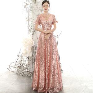 Glitzernden Rose Gold Pailletten Abendkleider 2020 A Linie Durchsichtige Stehkragen Geschwollenes Kurze Ärmel Applikationen Blumen Perlenstickerei Lange Rüschen Rückenfreies Festliche Kleider