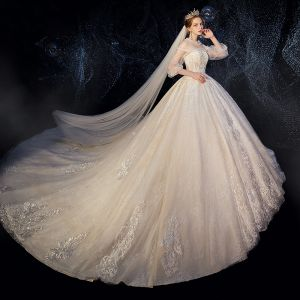 Vintage / Retro Champagne See-through Wedding Dresses 2019 Ball Gown High Neck Puffy 3/4 Sleeve Backless Appliques Lace Beading Cathedral Train Ruffle