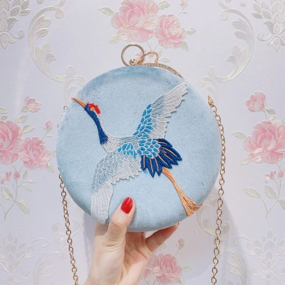 Elegant Sky Blue Suede Round Clutch Bags 2020 Metal Cartoon Embroidered