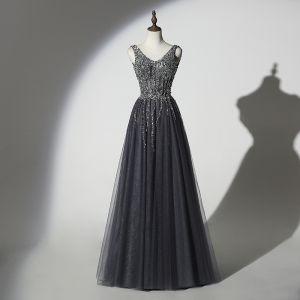 Glitzernden Grau Schwarz Abendkleider 2019 A Linie V-Ausschnitt Handgefertigt Perlenstickerei Pailletten Ärmellos Rückenfreies Lange Festliche Kleider