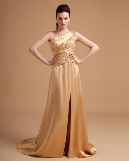 Silk Imitation Charmeuse Ruffle Beading Applique One Shoulder Floor Length Prom Dresses