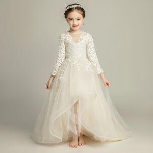 Piękne Szampan Sukienki Dla Dziewczynek 2019 Princessa Przezroczyste V-Szyja Długie Rękawy Aplikacje Z Koronki Trenem Sweep Wzburzyć Sukienki Na Wesele