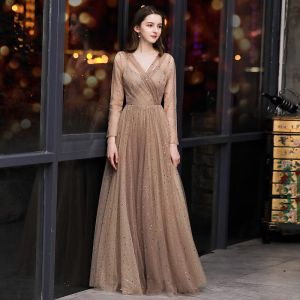 Elegant Brown Evening Dresses  2020 A-Line / Princess V-Neck See-through Long Sleeve Glitter Tulle Floor-Length / Long Formal Dresses