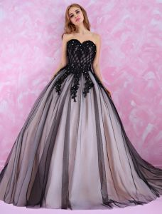 Robes De Bal Chérie De La Mode 2016 Strass Perles Longue Robe De Bal En Tulle Noir Avec Une Queue