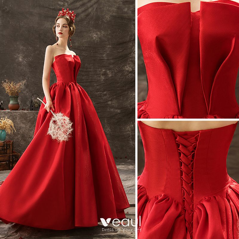 Audrey Hepburn Style Solid Color Red Prom Dresses 2019 A-Line / Princess Strapless Sleeveless Backless Court Train Formal Dresses