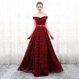 Piękne Burgund Sukienki Wieczorowe 2017 Princessa W paski Bez Pleców Frezowanie Wieczorowe Sukienki Wizytowe