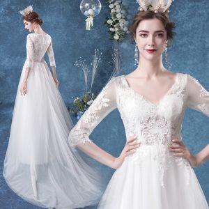 Affordable Ivory Wedding Dresses 2020 A-Line / Princess V-Neck Lace Flower 3/4 Sleeve Court Train