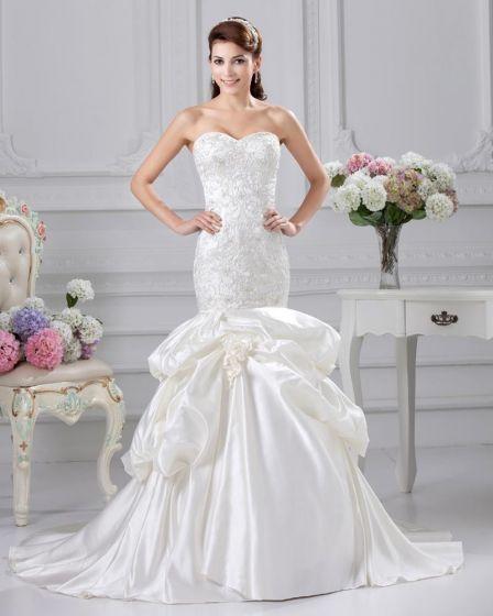 Satin Ruffle Applique Sweetheart Court Mermaid Bridal Gown Wedding Dresses