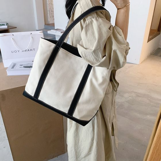 Schlicht Schwarz Weiß Quadratische Tragetasche Einkaufstasche Schultertaschen 2021 Segeltuch Freizeit Damentaschen