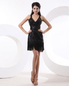 Sequins V Neck Above Knee Sexy Little Black Cocktail Dresses