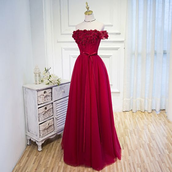 Chic / Beautiful Burgundy Prom Dresses 2018 A-Line / Princess Appliques Beading Sequins Bow Off-The-Shoulder Backless Sleeveless Floor-Length / Long Formal Dresses