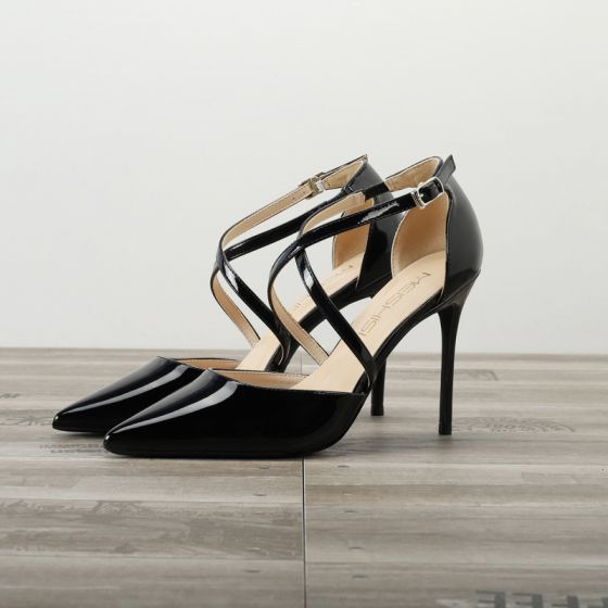 Chic / Beautiful Black Evening Party Womens Sandals 2020 Patent Leather 10 cm Stiletto Heels Pointed Toe Sandals