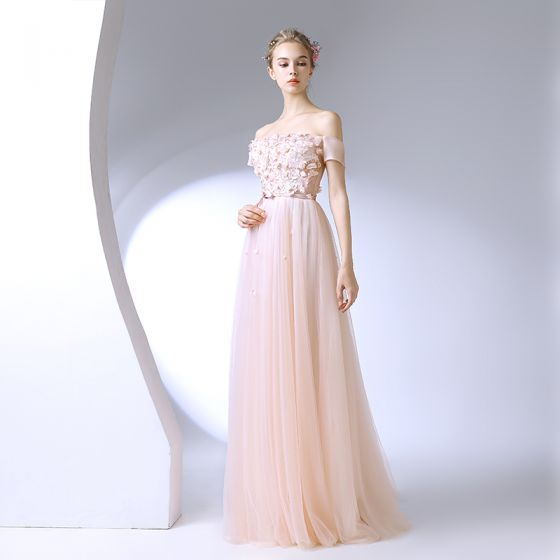 Chic / Beautiful Champagne Prom Dresses 2017 A-Line / Princess Lace Flower Crystal Pearl Off-The-Shoulder Backless Short Sleeve Floor-Length / Long Formal Dresses