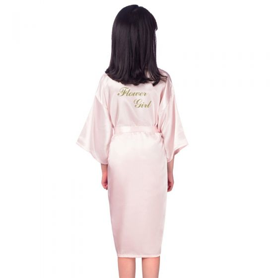 Modest / Simple Pearl Pink Wedding Silk Robes 2020 3/4 Sleeve V-Neck Sash Glitter Printing Flower Girl Dresses