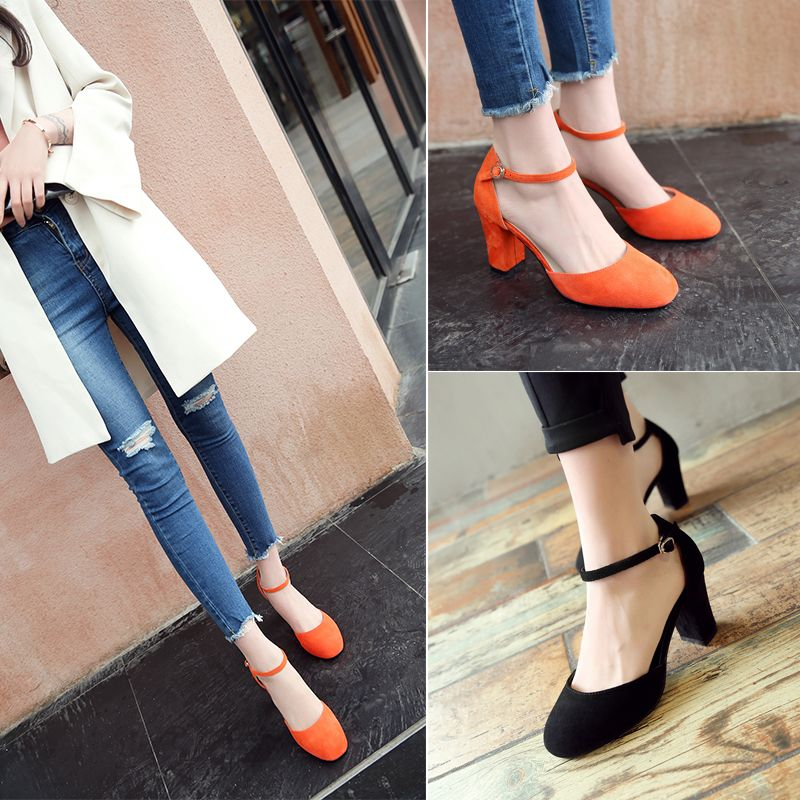 Chic / Beautiful Office Womens Sandals 2017 Leather High Heel Pumps Round Toe