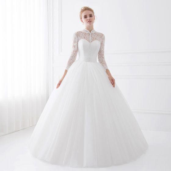 hermoso blanco vestidos de novia 2018 ball gown con encaje cuello