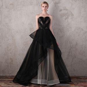 Luksusowe Czarne Sukienki Wieczorowe 2017 Koronkowe Frezowanie Aplikacje Bez Pleców Wieczorowe Sukienki Na Bal