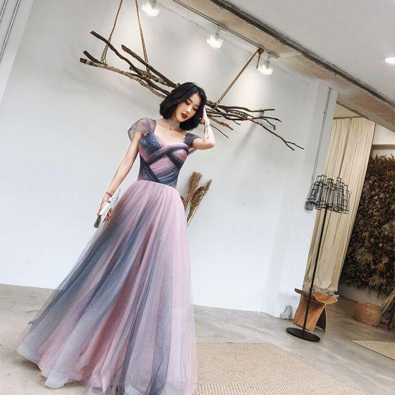 Elegant Blushing Pink Navy Blue Evening Dresses  2020 A-Line / Princess Shoulders Sleeveless Glitter Tulle Floor-Length / Long Ruffle Backless Formal Dresses