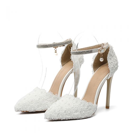 Elegant Ivory Lace Flower Wedding Shoes 2020 Pearl Rhinestone Ankle Strap 11 cm Stiletto Heels Pointed Toe Wedding Heels
